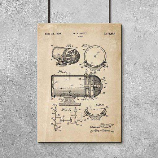 Plakat z patentem na syrenę dźwiękową do garażu