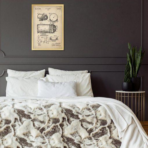 Plakat z patentem na syrenę dźwiękową do sypialni