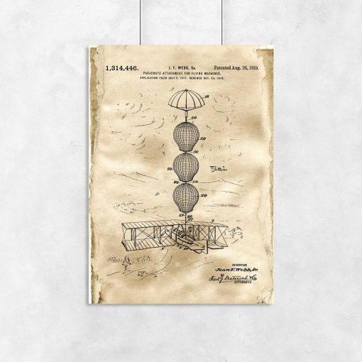 Plakat z patentem na system spadochronowy do gabinetu