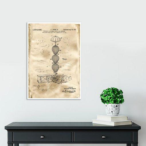 Plakat z patentem na system spadochronowy do salonu