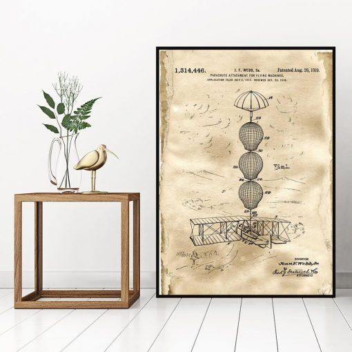 Plakat z patentem na system spadochronowy do sypialni