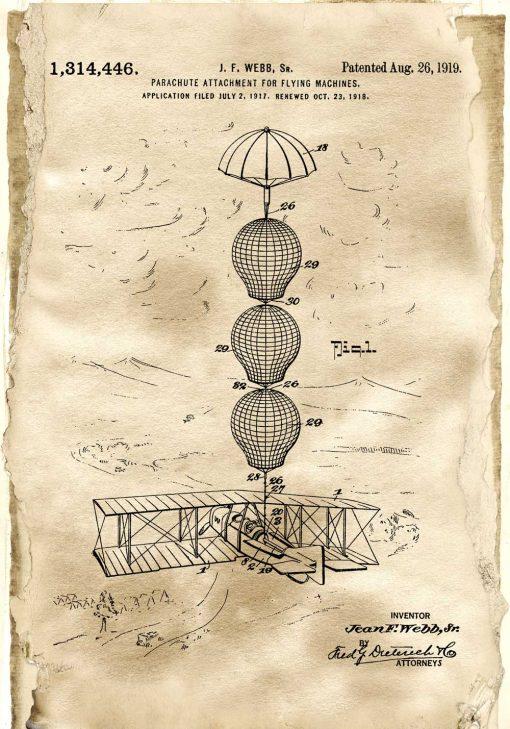 Plakat z patentem na system spadochronowy do szkoły