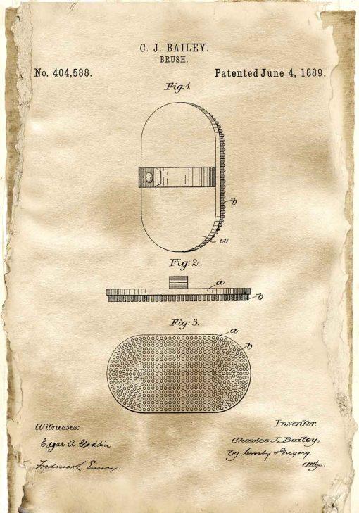 Plakat z patentem na szczotkę z 1889 roku