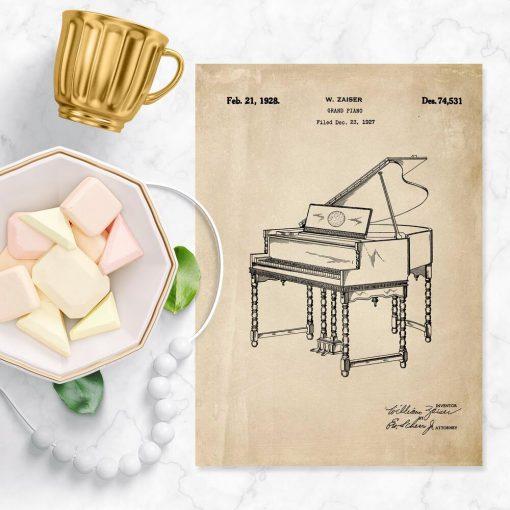 Plakat z patentem - rycina pianina