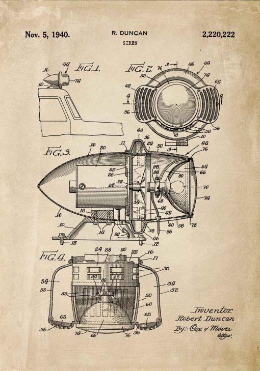 Plakat z patentem - Syrena z 1940 roku