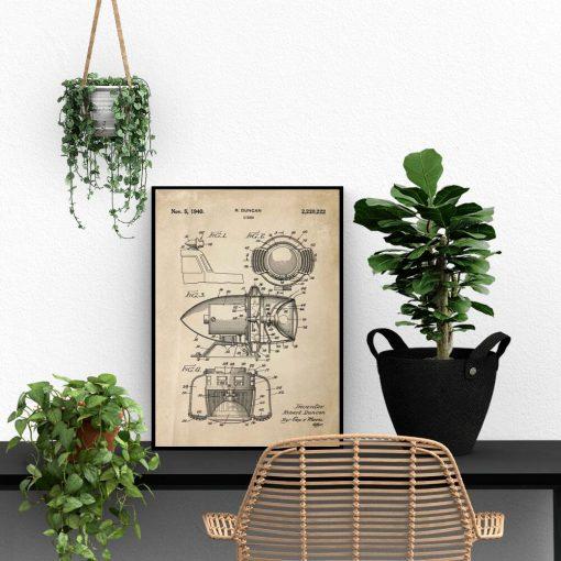 Plakat z patentem - Syrena z 1940 roku do biura