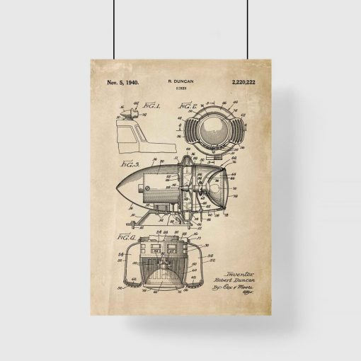 Plakat z patentem - Syrena z 1940 roku do przedpokoju