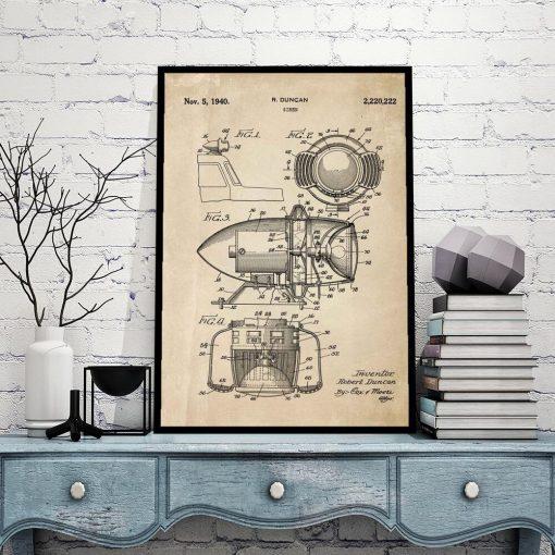 Plakat z patentem - Syrena z 1940 roku do sypialni