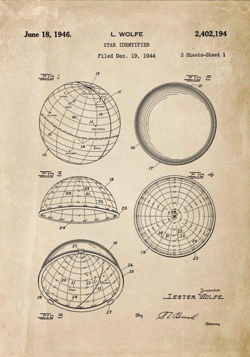 Plakat z patentem z 1946r. - urządzenie astronomiczne