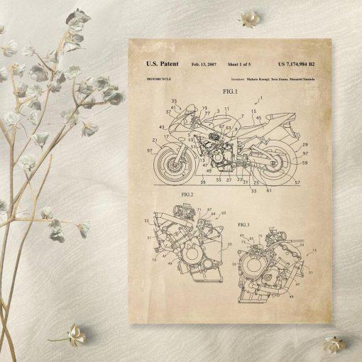 Plakat z projektem i licencją na produkcję motocykla