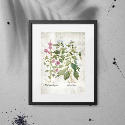 Plakat z różowymi i białymi kwiatkami do powieszenia w sklepie