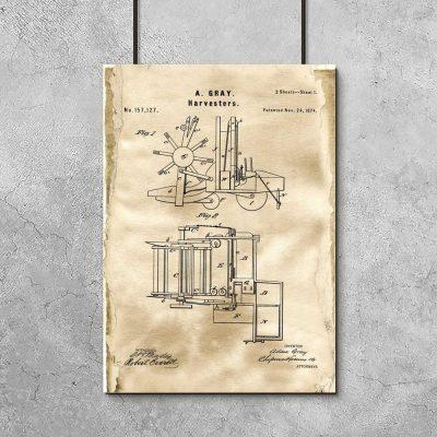 Plakat z rysunkiem konstrukcyjnym kombajnu