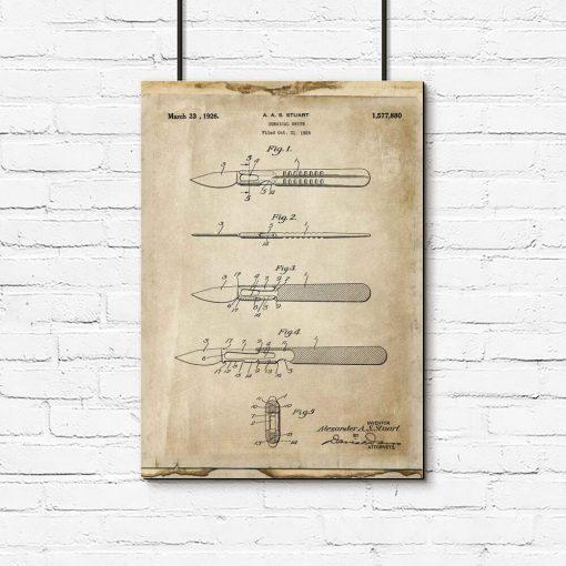 Plakat z rysunkiem opisowym skalpela dla chirurga