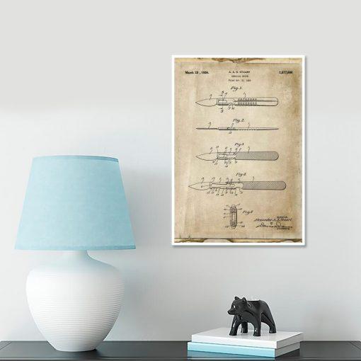 Plakat z rysunkiem opisowym skalpela dla weterynarza