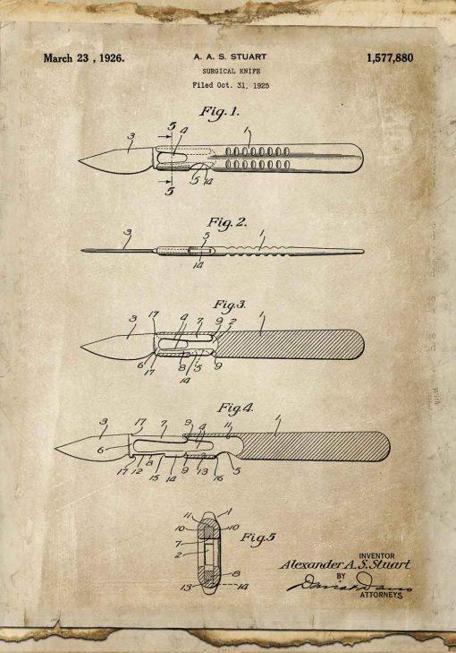 Plakat z rysunkiem opisowym skalpela do gabinetu lekarskiego