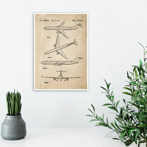 Plakat z rysunkiem patentowym do sypialni