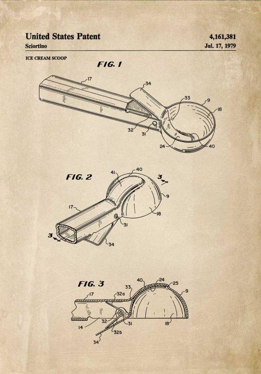 Plakat z rysunkiem patentowym na gałkownicę