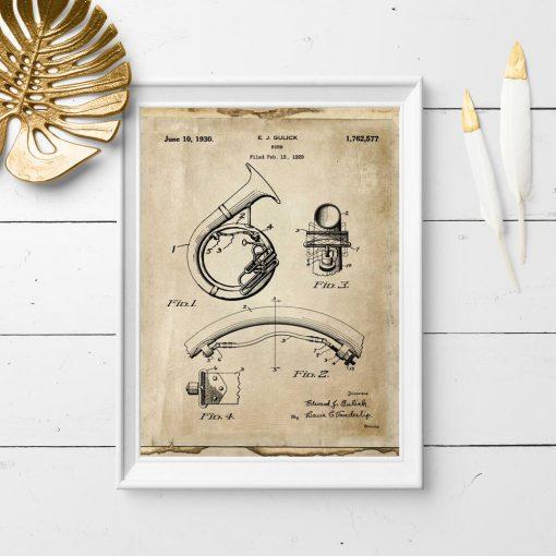 Plakat z rysunkiem patentowym na instrument muzyczny