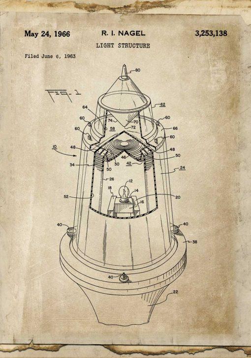 Plakat z rysunkiem patentowym na nowoczesne źródło światła z 1963r.