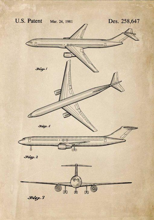 Plakat z rysunkiem patentowym samolotu