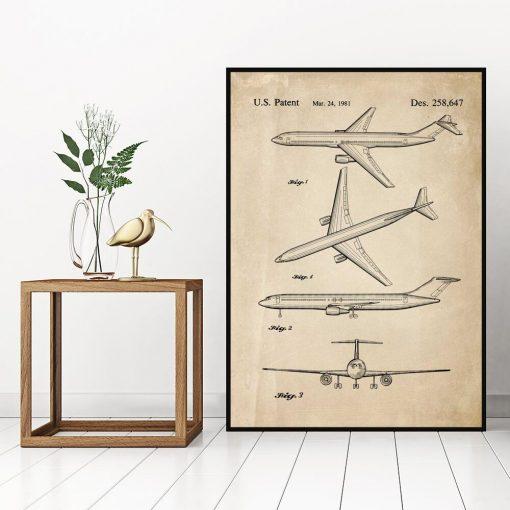 Plakat z rysunkiem patentowym samolotu do biura