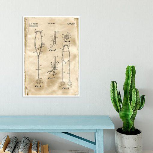 Plakat z rysunkiem patentowym stetoskopu dla studenta
