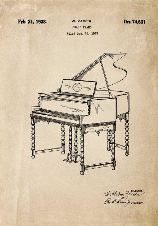 Plakat z rysunkiem pianina
