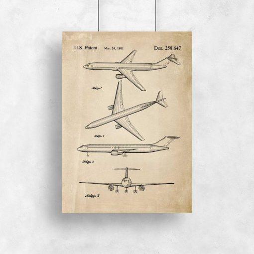 Plakat z rysunkiem samolotu dla chłopca