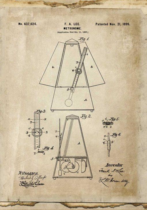 Plakat z taktomierzem - patent z 1899r.