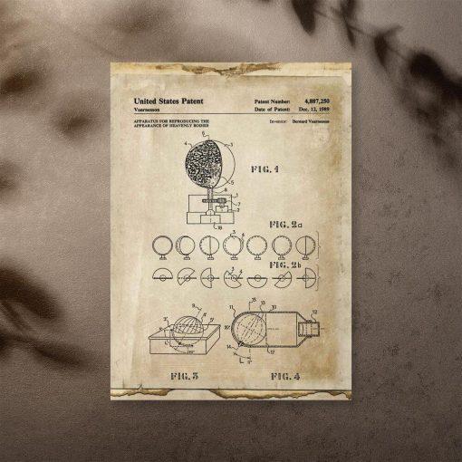 Plakat z urządzeniem astronomicznym - patent 1989r.