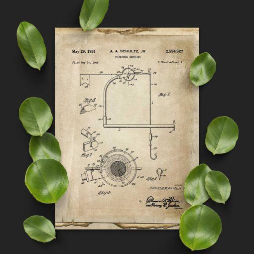 Plakat z wynalazkiem dla wędkarza