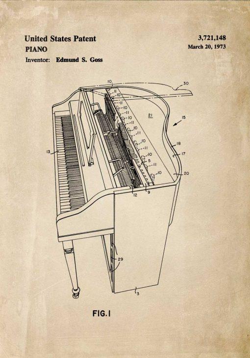 Plakat ze schematem budowy i patentem na fortepian z 1973r.