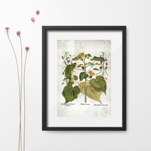 Plakat zielone rośliny i kolorowe kwiatuszki