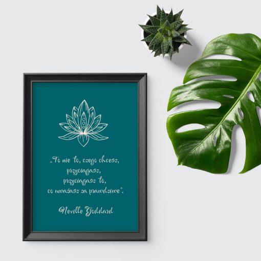 Zielony plakat z lotosem - grafika