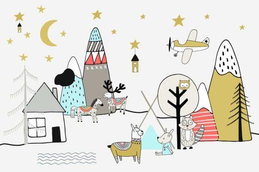 Tapeta dla dzieci góry i zwierzęta w nocy