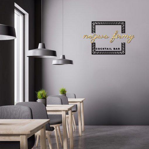Cocktail bar - trójwymiarowe logo z ramką