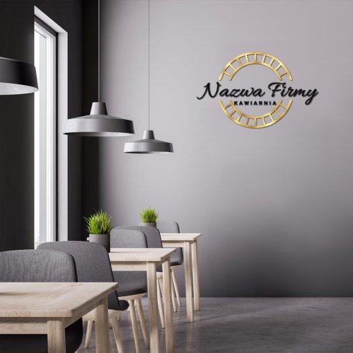 Logotyp 3d z okrągłym elementem do kawiarni