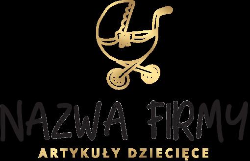 Logotyp 3d z wózkiem dla sklepu dziecięcego