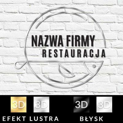 Przestrzenne logo z rybą do restauracji