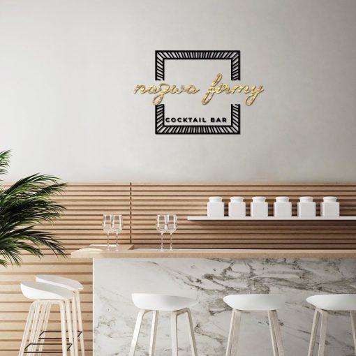 Przestrzenny znak firmowy z ramką dla cocktail baru