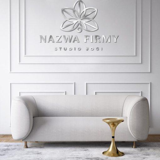 Trójwymiarowe logo z kwiatem lotosu dla studia jogi