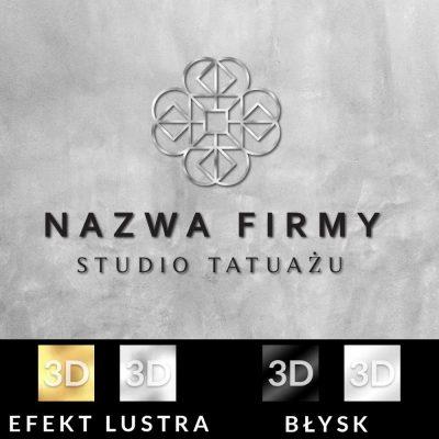 Trójwymiarowy logotyp z geometrycznym ornamentem dla studia tatuażu