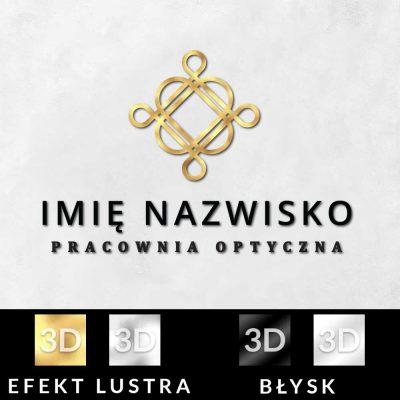 Trójwymiarowy logotyp ze złotym ornamentem - optyk