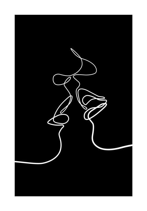 Czarno-biały plakat kobieta i mężczyzna