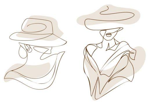 Dyptyk plakatowy z kobietą w kapeluszu