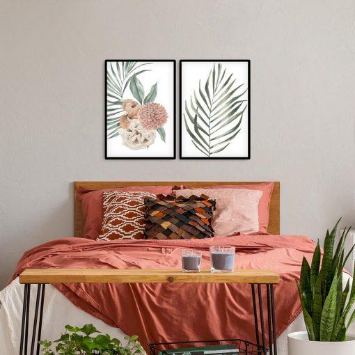 Dyptyk plakatowy z motywem liści i dalią