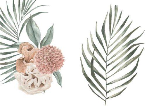 Komplet plakatów z tropikalnymi roślinami i dalią