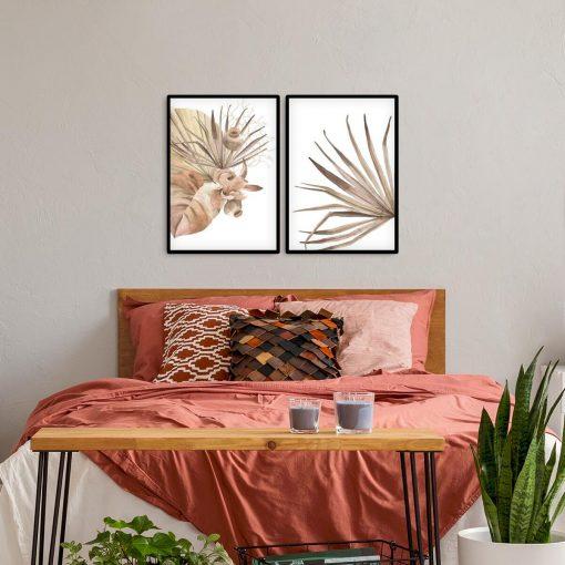Pastelowy dyptyk plakatowy z liśćmi roślin plakatowych