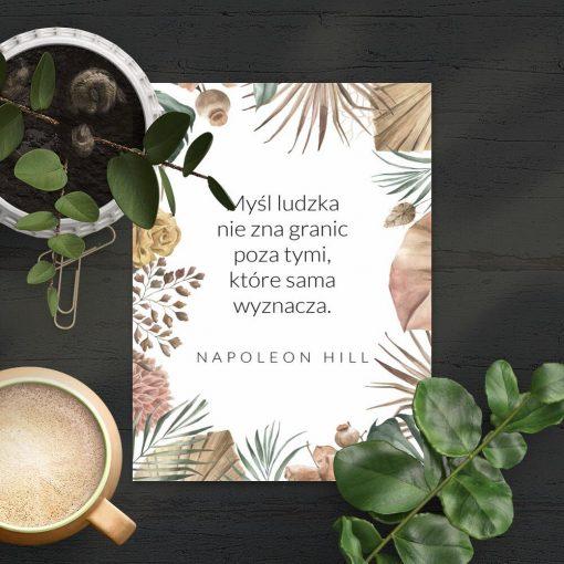 Plakat cytat Hilla o mocy ludzkiej myśli