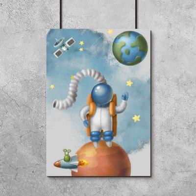 Plakat dla dzieci z przestrzenią kosmiczną